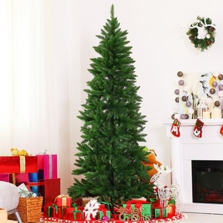 Link to 7' PVC Hinged Unlit Artificial Christmas Tree , 865 Tips, Stand, Green Similar Items in Christmas Greenery