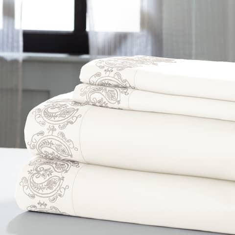 Amrapur Overseas Paisley 1000 Thread Count 4-Piece Sheet Set