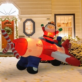 HOMCOM 8' Outdoor Animated Christmas Inflatable Pilot Santa in Propeller Plane