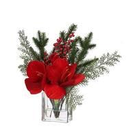 14'' Amaryllis Berry Pine In Water/Glass Vase