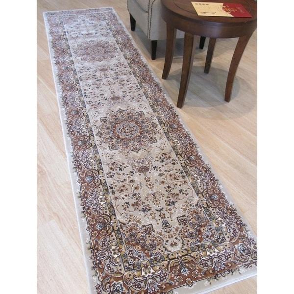 "Beige Traditional Oriental Tabriz Rug - 2'6"" x 9'10"""