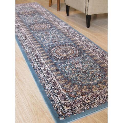 """Blue Traditional Oriental Tabriz Rug - 2'6"""" x 9'10"""""""