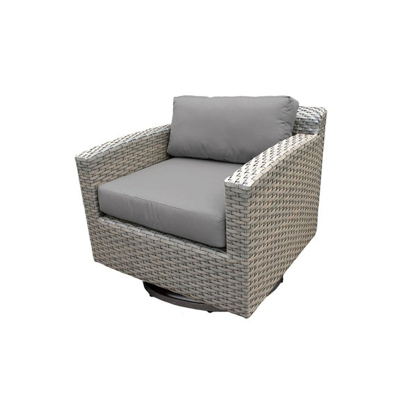 Shop Florence Outdoor Grey Wicker Swivel Chair Free