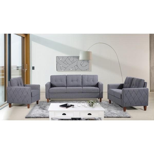 24 Living Room Furniture Free Delivery Living Room: Shop Harrad Tufted Mid-Century 3 Piece Living Room Set