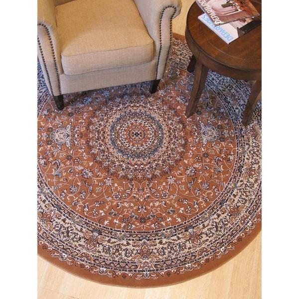 "Rust Traditional Oriental Tabriz Rug - 3'11"" Round"