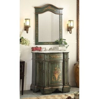 """35"""" Benton Collection Crossfield Green Bathroom Vanity & Mirror"""