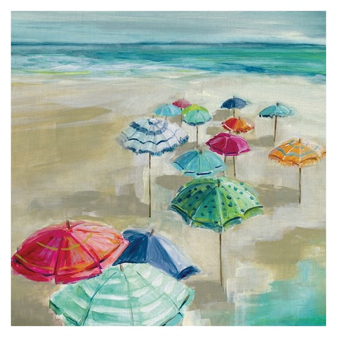 Fine Art canvas Making Shade with Beach Umbrella II by Carol Robinson Canvas Art - Multi-color