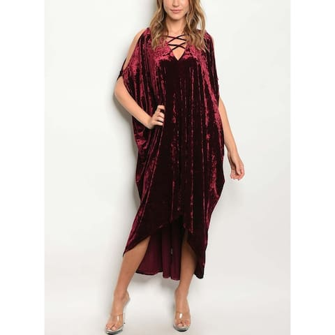 JED Women's Crushed Velvet Asymmetric Midi Dress