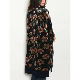 JED Women's Floral Velvet Kimono Cardigan