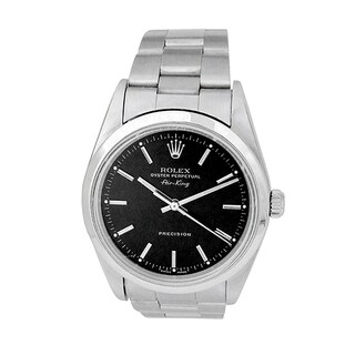 Pre-owned 34mm Rolex Stainless Steel Oyster Perpetual Airking Watch with Black Dial - N/A - N/A