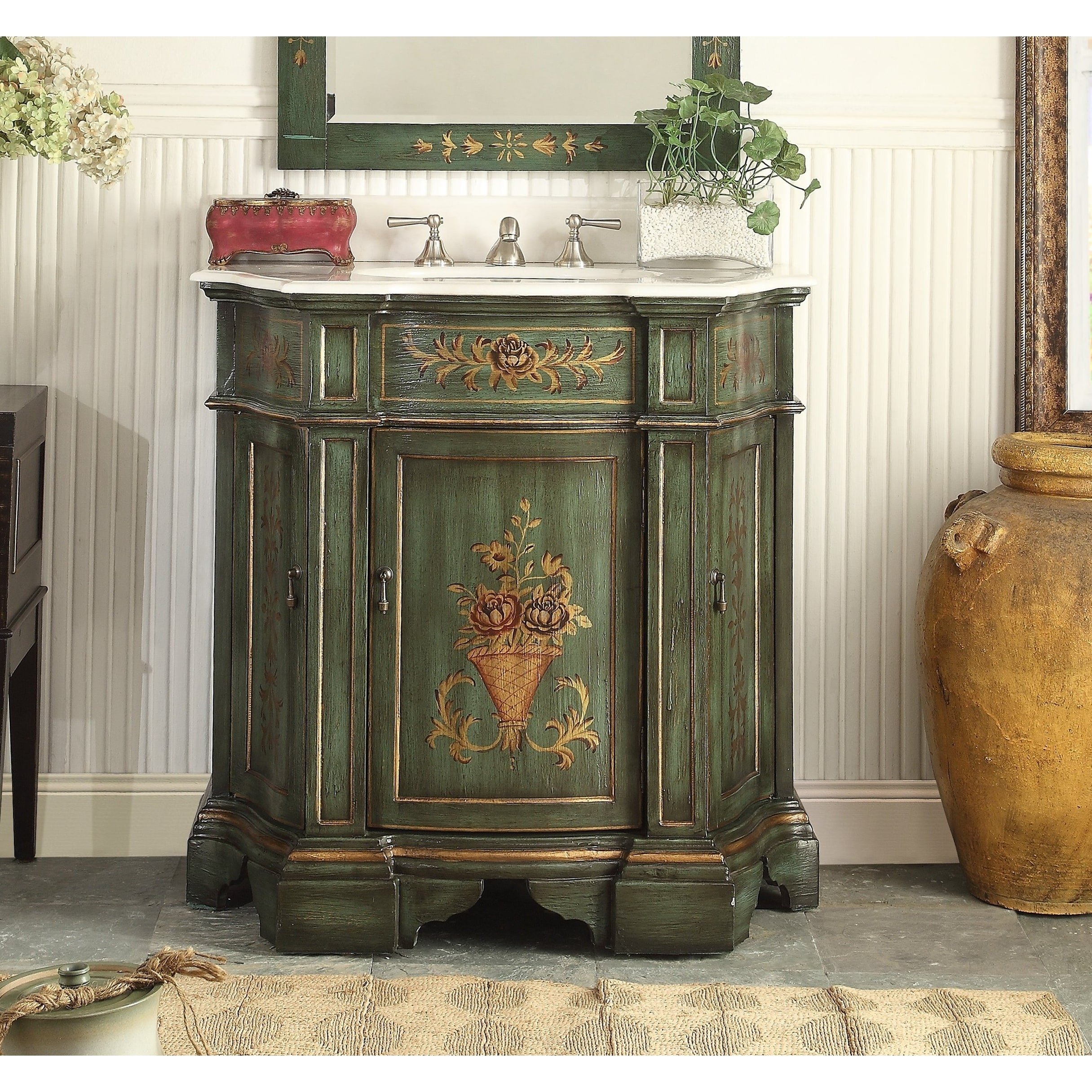 35 Benton Collection Crossfield Antique Style Green Bathroom Vanity Overstock 24017883