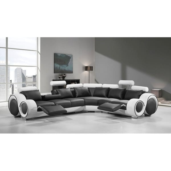Astonishing Shop Divani Casa 4087 Modern Black And White Leather Home Interior And Landscaping Pimpapssignezvosmurscom