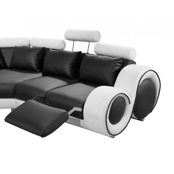 Ideas About 4087 Modern Black And White Leather Sectional