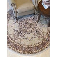 Beige Traditional Oriental Tabriz Rug - 3'11 x3'11