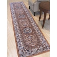 "Rust Traditional Oriental Tabriz Rug - 2'6"" x 10'"