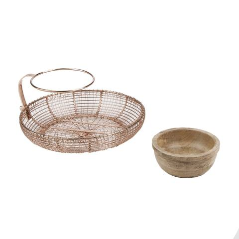 Mind Reader Chip N' Dip Bowl Set, Tiered Chips and Dips Set, Iron & Wood, Kitchen, Centerpiece, Countertop Bowl, Rose Gold