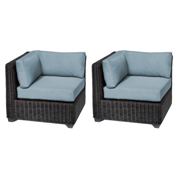 TK Classics Venice Chestnut Brown Resin Wicker/Aluminum Corner Sofa (Set of  2)