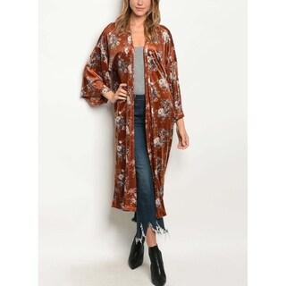 JED Women's Rose Print Velvet Maxi Kimono Cardigan