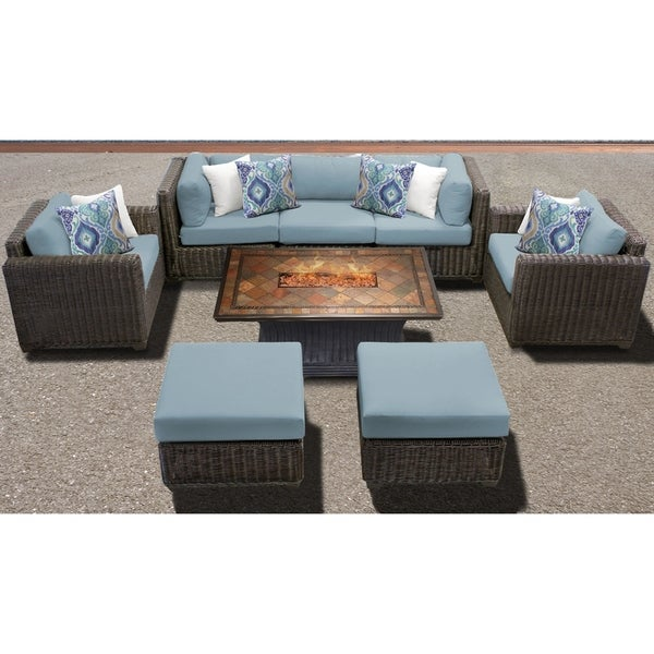 Tk Clics Venice Chestnut Brown Resin Wicker Aluminum 8 Piece Outdoor Patio Furniture Set Free Shipping Today 24018267
