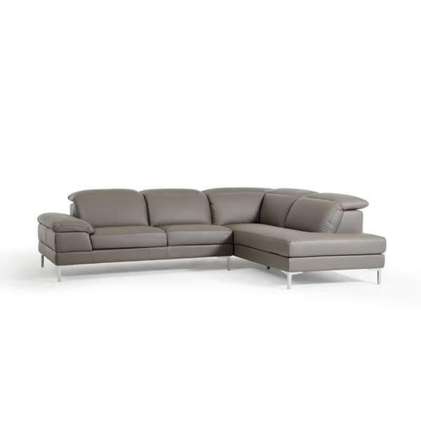 Divani Casa Carnation Modern Grey Eco Leather Sectional Sofa