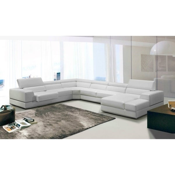 Pleasant Shop Divani Casa Pella Modern White Leather Sectional Sofa Short Links Chair Design For Home Short Linksinfo