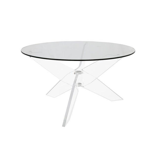 Russ160 Clear Acrylic Round Modern Accent Table. Opens flyout.