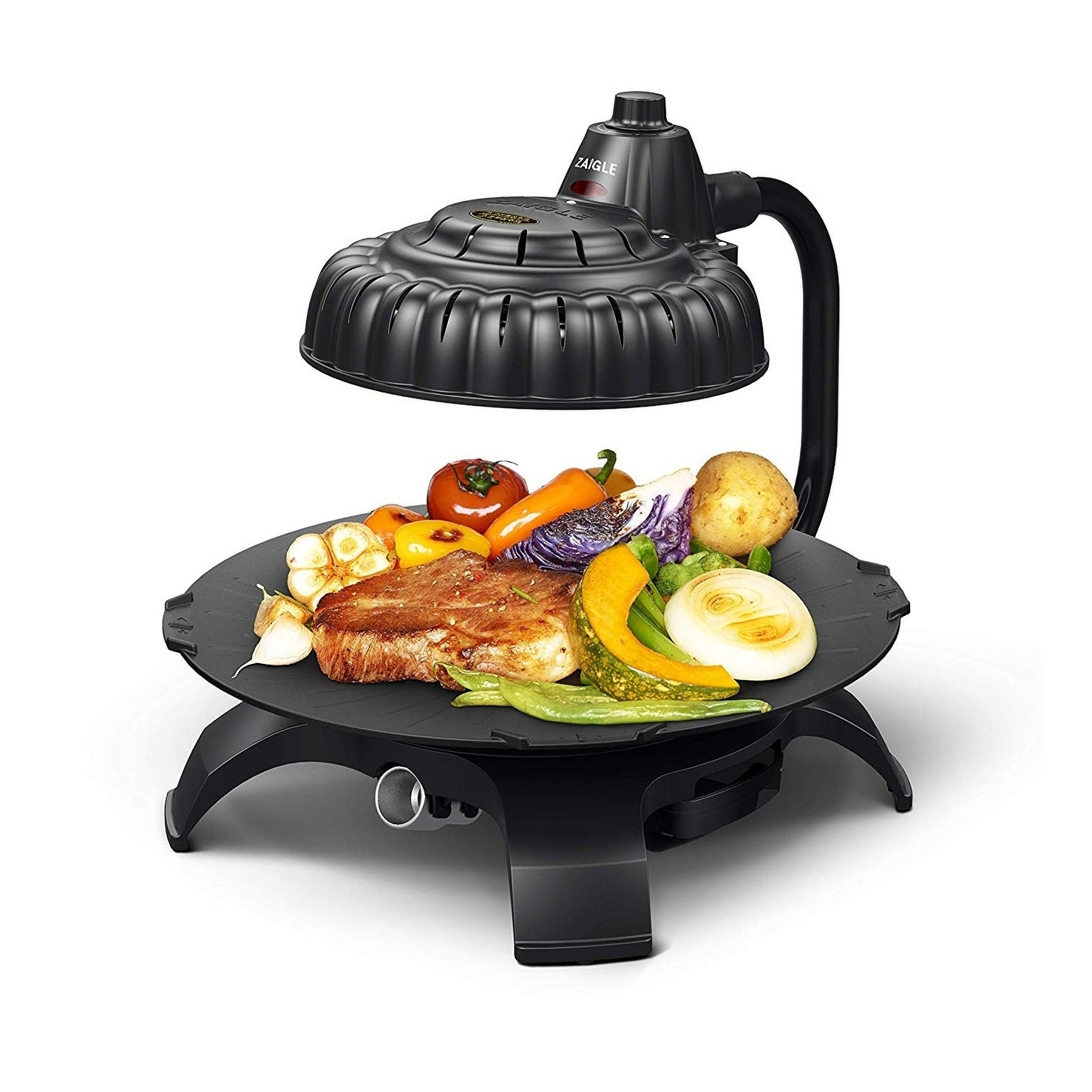 Zaigle ZG-HU375 Handsome Infrared KBBQ Electric Grill, 120v, 3 pans, tongs  included