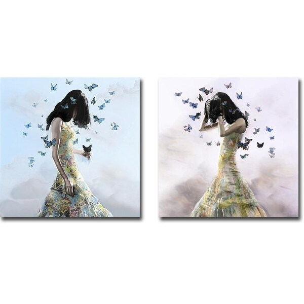 Don't Forget Me and Fear the Worst by Christopher Cuseo 2-piece Gallery Wrapped Canvas Giclee Art Set (Ready to Hang)