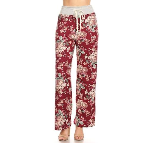 Women's Casual Drawstring Waist Tie Wide Leg Loose Pants