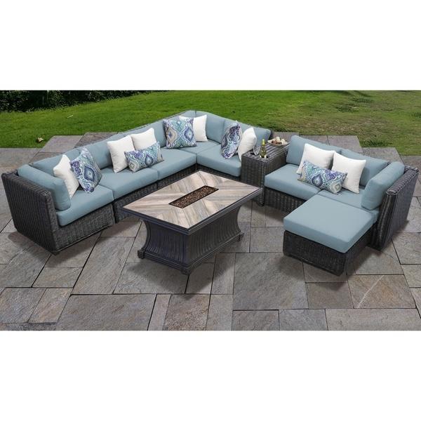 shop tk classics venice wicker aluminum 10 piece outdoor patio rh overstock com aluminum frame wicker patio furniture
