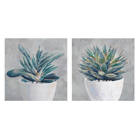 Masterpiece Art Gallery Potted Succulent I, II By Studio Arts Canvas Art Print Set Of 2 - Multi-color