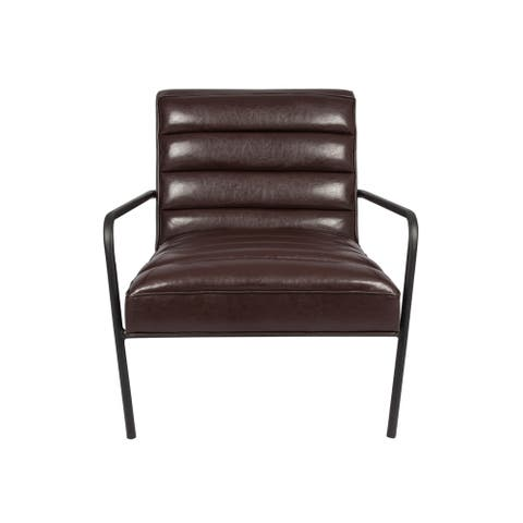 Tufted Faux Leather Arm Chair--Brown