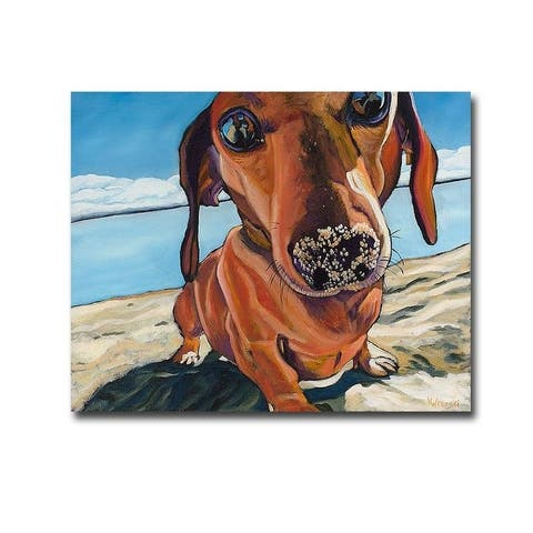 Sand Dog by Kathryn Wronski Gallery Wrapped Canvas Giclee Art (16 in x 20 in, Ready to Hang)