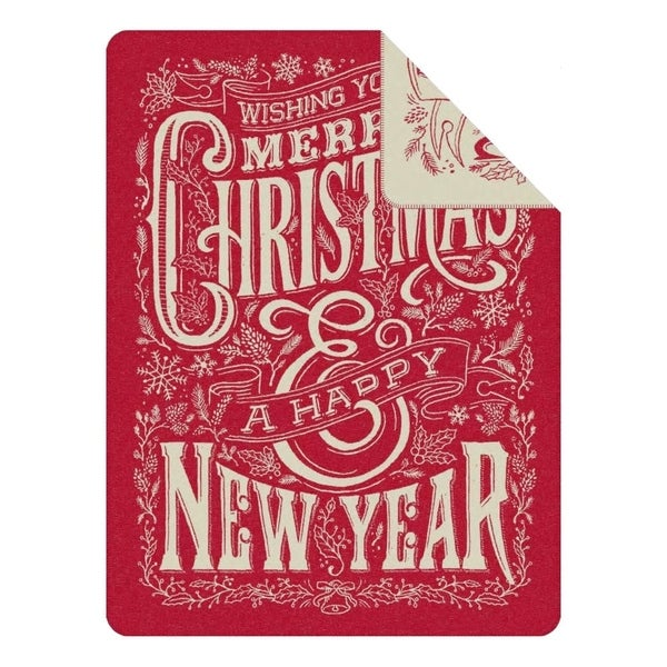 IBENA Merry Christmas Throw Blanket