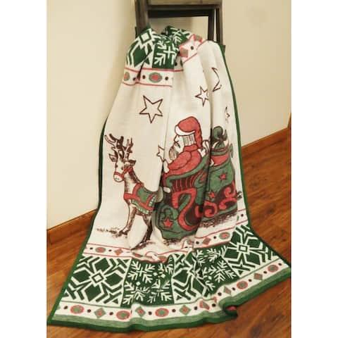 IBENA Vintage Style Santa's Sleigh Throw Blanket