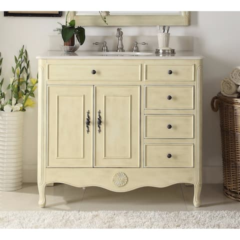 Modetti Provence 38-inch Single Sink Bathroom Vanity with Marble Top