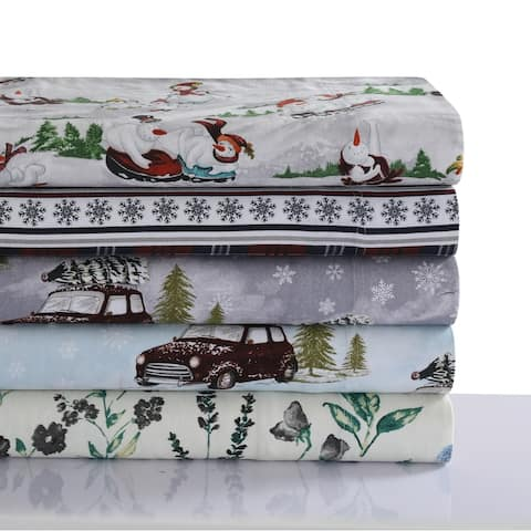 170-GSM Soft Flannel Extra Deep Pocket Bed Sheet Set with Oversized Flat