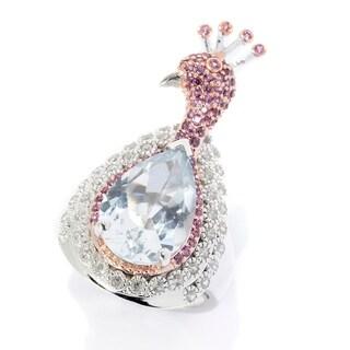 Pinctore Sterling Silver 6.58ctw Multi Gemstone Peacock Ring