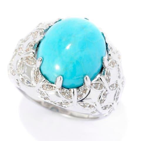 Legacy Sterling Silver Kingman Turquoise & White Zircon Ring