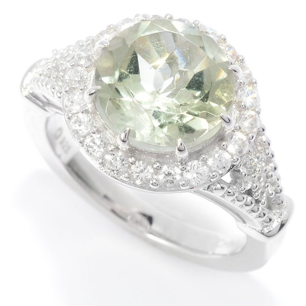 Sterling Silver Rhodium 10mm Round Cut Engagement Ring
