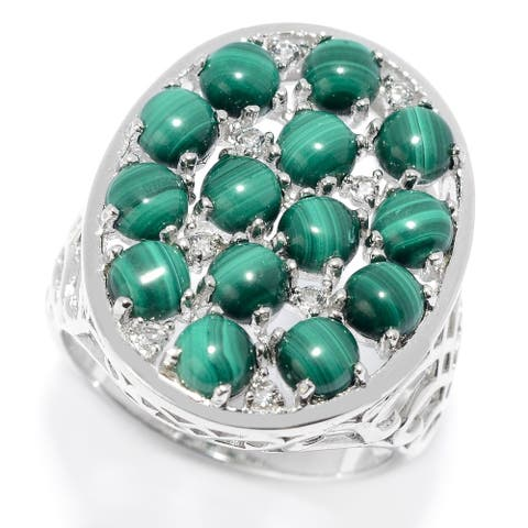 Sterling Silver Malachite & White Topaz Oval Shaped Ring