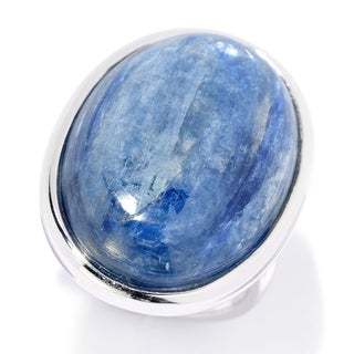 Pinctore Sterling Silver 25 x 18mm Oval Kyanite North-South Ring