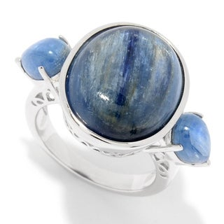 Pinctore Sterling Silver Multi Shape Kyanite 3-Stone Ring