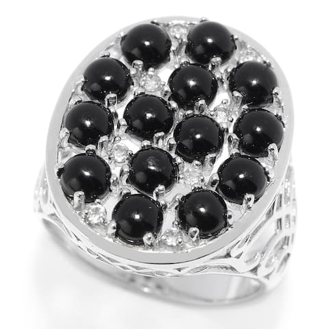 Sterling Silver Black Onyx & White Topaz Oval Shaped Ring