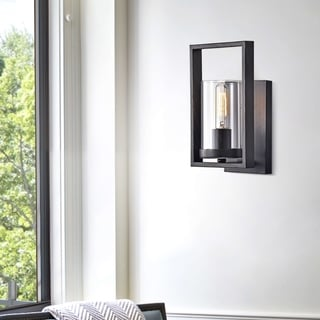Link to Anastasia Antique Black Single Light Wall Sconce with Clear Glass Similar Items in Sconces