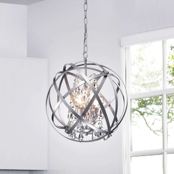 Benita Silver 4-Light Metal Globe Crystal Chandelier