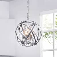 Benita Silver 3-light Metal Globe Crystal Chandelier
