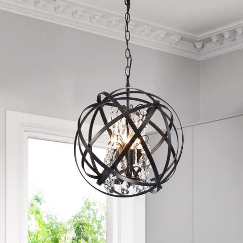 Benita Antique Black 4-Light Metal Globe Crystal Chandelier