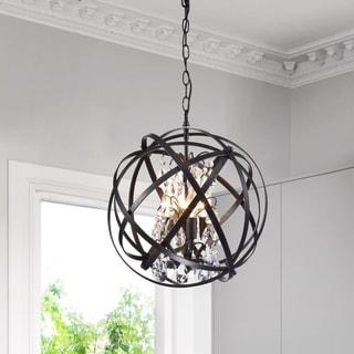 Link to Benita Antique Black 4-Light Metal Globe Crystal Chandelier Similar Items in Chandeliers