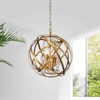 Benita Light Gold 3-Light Metal Globe Crystal Chandelier